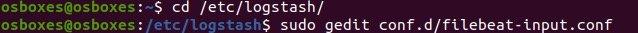 在logstash配置目录创建filebeat-input.conf文件
